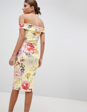 photo Floral Bardot Midi Dress by Missguided, color Yellow - Image 2