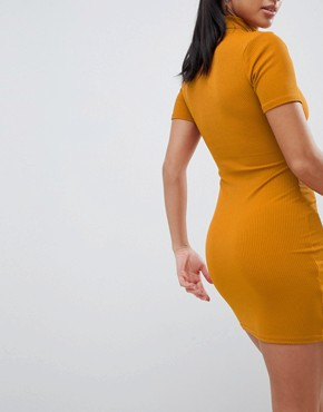 photo High Neck Ribbed Bodycon Dress by Missguided Petite, color Gold - Image 2