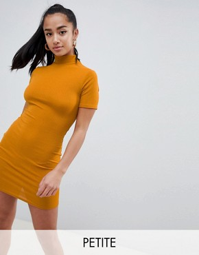 photo High Neck Ribbed Bodycon Dress by Missguided Petite, color Gold - Image 1