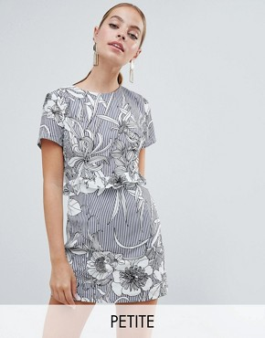 photo Floral Open Back Mini Dress by Missguided Petite, color Dark Grey - Image 1