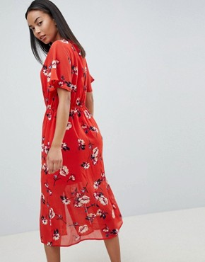 photo Floral Button Front Midi Dress by Missguided Tall, color Red - Image 2