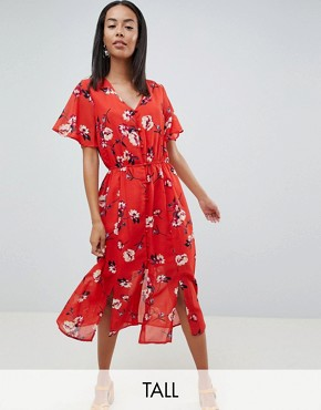 photo Floral Button Front Midi Dress by Missguided Tall, color Red - Image 1