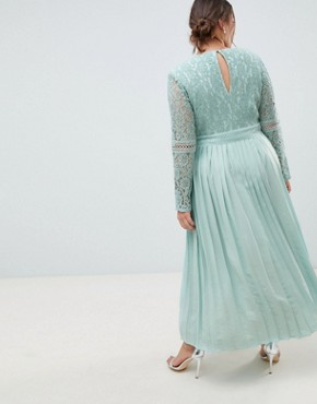 photo Lace Top Midi Skater Dress with Pleated Skirt in Spearmint by Little Mistress Plus, color Spearmint - Image 2