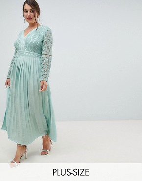 photo Lace Top Midi Skater Dress with Pleated Skirt in Spearmint by Little Mistress Plus, color Spearmint - Image 1