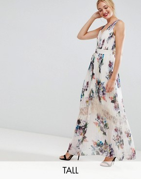 photo Pleated Maxi Dress in Floral Print in Cream Multi by Little Mistress Tall, color Cream/Multi - Image 1
