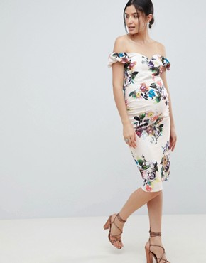 photo Bardot Scuba Pencil Dress in Floral Print in Cream Multi by Little Mistress Maternity, color Cream/Multi - Image 1