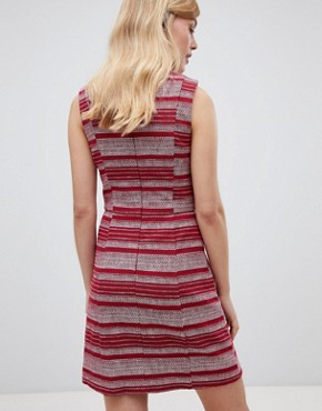 photo Striped Ruffle Hem Shift Dress by Oasis, color Multi Red - Image 2