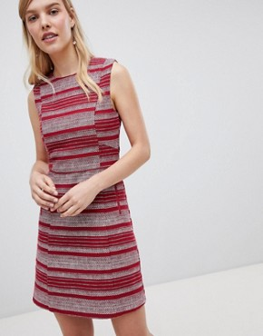 photo Striped Ruffle Hem Shift Dress by Oasis, color Multi Red - Image 1