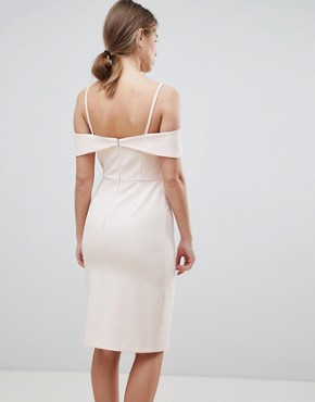 photo Cold Shoulder Bodycon Midi Dress by Oasis, color Nude - Image 2