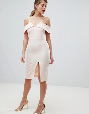 photo Cold Shoulder Bodycon Midi Dress by Oasis, color Nude - Image 1