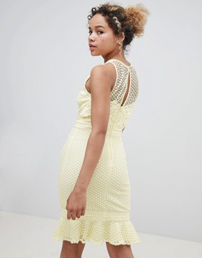 photo Lace Applique Shift Dress with Peplum Hem in Lemon by Little Mistress Petite, color Lemon - Image 2