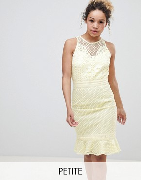 photo Lace Applique Shift Dress with Peplum Hem in Lemon by Little Mistress Petite, color Lemon - Image 1