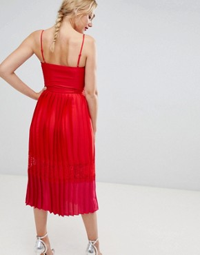 photo Pleated Lace Trim Midi Dress in Pomegranate by Little Mistress Tall, color Pomegranate - Image 2