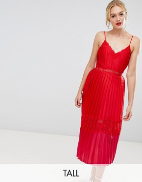 photo Pleated Lace Trim Midi Dress in Pomegranate by Little Mistress Tall, color Pomegranate - Image 1