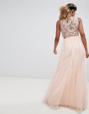 photo Embellished Waist Maxi Dress with Lace Back in Nude by Little Mistress Petite, color Nude - Image 2