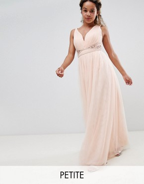 photo Embellished Waist Maxi Dress with Lace Back in Nude by Little Mistress Petite, color Nude - Image 1