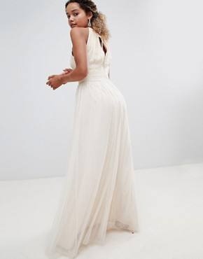 photo Sequin High Neck Maxi Dress in Cream by Little Mistress Petite, color Cream - Image 2