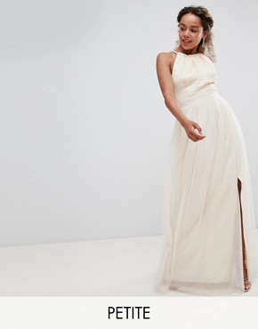 photo Sequin High Neck Maxi Dress in Cream by Little Mistress Petite, color Cream - Image 1