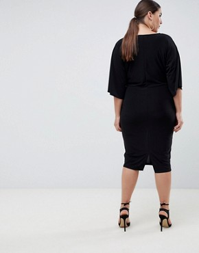 photo Knot Front Jersey Midi Dress in Black by Outrageous Fortune Plus, color Black - Image 2
