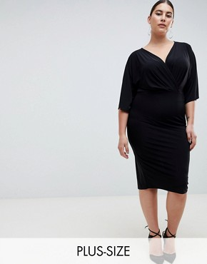 photo Knot Front Jersey Midi Dress in Black by Outrageous Fortune Plus, color Black - Image 1
