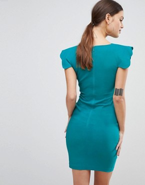 photo Shoulder Detail Pencil Dress by Vesper, color Teal - Image 2