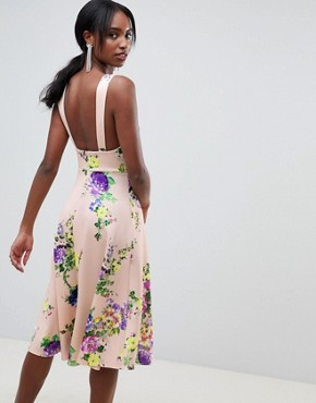 photo Midi Floral Prom Dress with Square Neck by ASOS DESIGN Tall, color Multi - Image 2