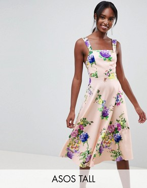 photo Midi Floral Prom Dress with Square Neck by ASOS DESIGN Tall, color Multi - Image 1