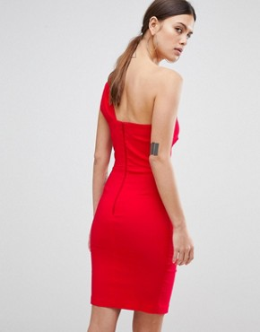 photo One Shoulder Split Pencil Dress by Vesper, color Red - Image 2