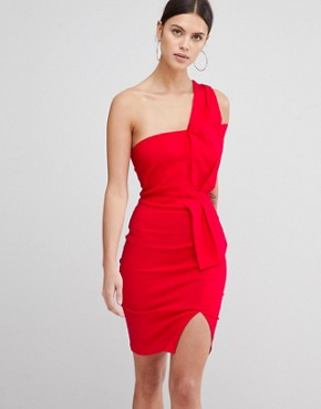 photo One Shoulder Split Pencil Dress by Vesper, color Red - Image 1
