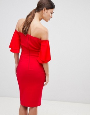 photo Short Sleeve Bardot Dress by Vesper, color Red - Image 2