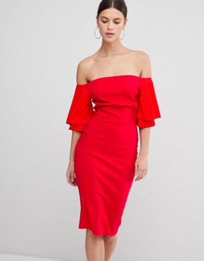 photo Short Sleeve Bardot Dress by Vesper, color Red - Image 1