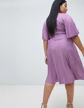 photo Pleated Kimono Sleeve Midi Dress by ASOS DESIGN Curve, color Purple - Image 2