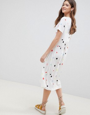 photo Slinky Smock Dress in Multi Spot by ASOS DESIGN, color Spot Print - Image 2