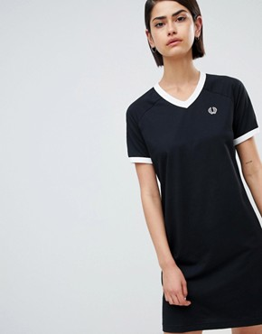 photo V-Neck Ringer T-Shirt Dress with Logo Tape by Fred Perry, color Black - Image 1