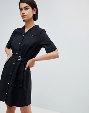 photo Belted Shirt Dress by Fred Perry, color Black - Image 1