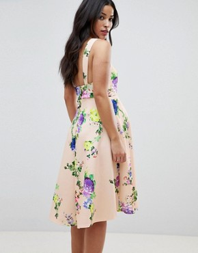 photo Maternity Midi Floral Prom Dress with Square Neck by ASOS DESIGN, color Multi - Image 2