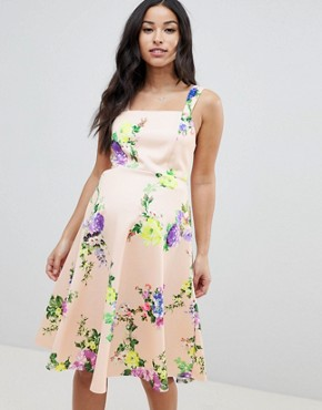 photo Maternity Midi Floral Prom Dress with Square Neck by ASOS DESIGN, color Multi - Image 1