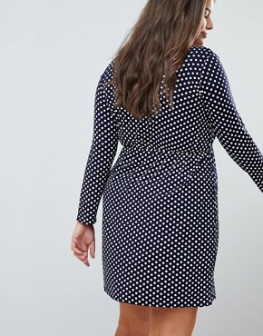 photo Wrap Dress in Polka Dot by Praslin, color Navy Polka Dot - Image 2