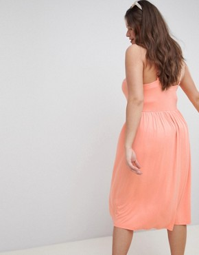 photo Square Neck Midi Button Front Smock Dress by ASOS DESIGN Curve, color Coral - Image 2