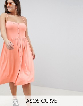 photo Square Neck Midi Button Front Smock Dress by ASOS DESIGN Curve, color Coral - Image 1