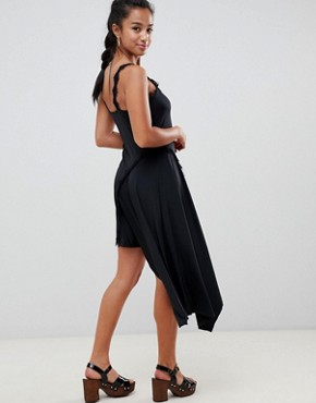 photo Lace Insert Slinky Slip Dress by ASOS DESIGN Petite, color Black - Image 2