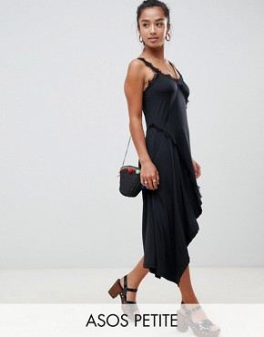 photo Lace Insert Slinky Slip Dress by ASOS DESIGN Petite, color Black - Image 1