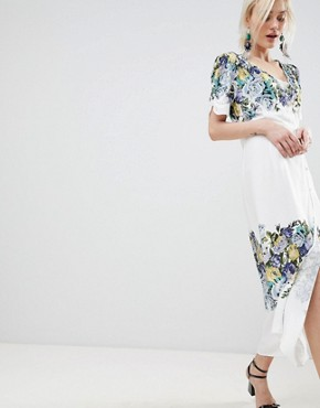 photo Jaimie Floral Print Midi Wrap Dress by Free People, color Neutral Combo - Image 1