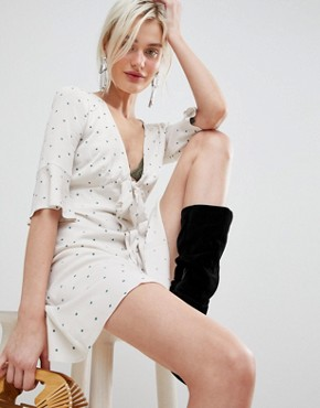 photo All Yours Tie Waist Mini Dress by Free People, color Neutral Combo - Image 1