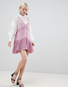 photo Any Party Trapeze Dress by Free People, color Mauve - Image 4