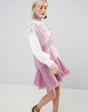 photo Any Party Trapeze Dress by Free People, color Mauve - Image 1