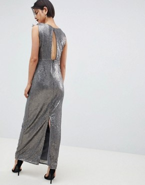 photo All Over Sequin Maxi Dress by Little Mistress, color Mocha - Image 2