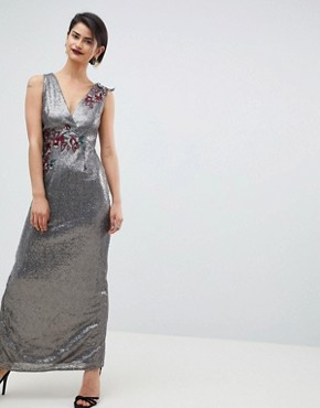 photo All Over Sequin Maxi Dress by Little Mistress, color Mocha - Image 1