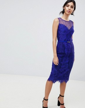 photo Lace Bodycon Pencil Dress by Little Mistress, color Cobalt - Image 1