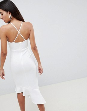 photo Scuba Cami Pephem Midi Dress by ASOS DESIGN, color Ivory - Image 2